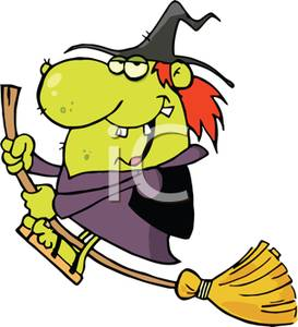 273x300 An Ugly Witch Riding A Magic Broom Clipart Picture