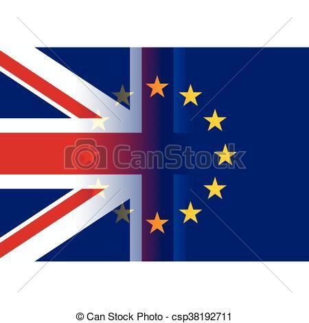 450x470 United Kingdom And European Union Flags Merging Vector Clip Art