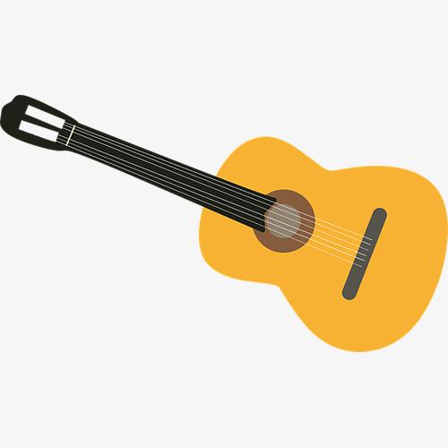 500x500 Yellow Guitar Clip Art, Guitar Clip, Yellow Guitar, Folk Guitar