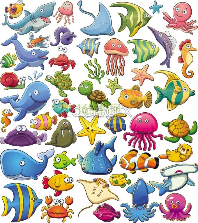 680x768 Cute Sea Animal Cartoon Vector Mar Cartoon, Animal