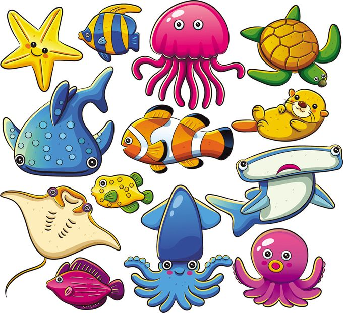 680x621 Free Nautical Graphics For Download Cartoon Marine Animals