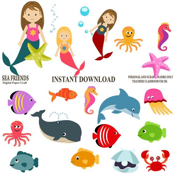 570x570 Mermaid Clipart Ocean Clipart Sea Clipart Underwater