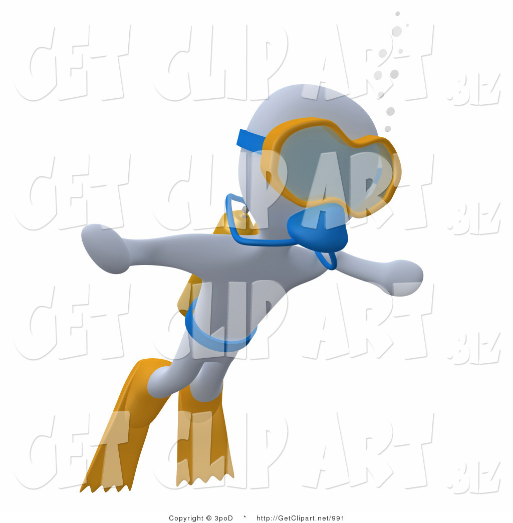 1024x1044 3d Clip Art Of A White Man Swimming Underwater While Scuba Diving