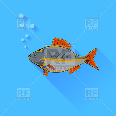 400x400 Sea Fish On Blue Background Royalty Free Vector Clip Art Image