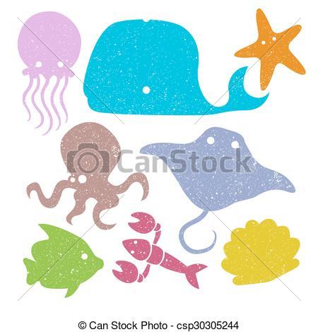 450x470 Various Underwater Animals. Various Simple Under Water Eps