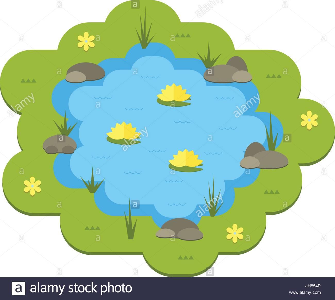 1300x1165 Cartoon Vector Garden Pond Illustration With Water, Plants
