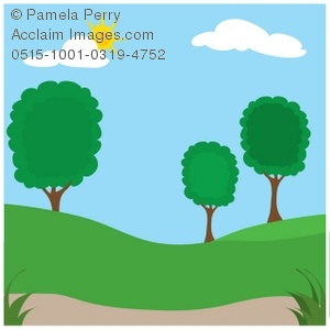 300x300 Clip Art Illustration Of A Park In Summer With Trees