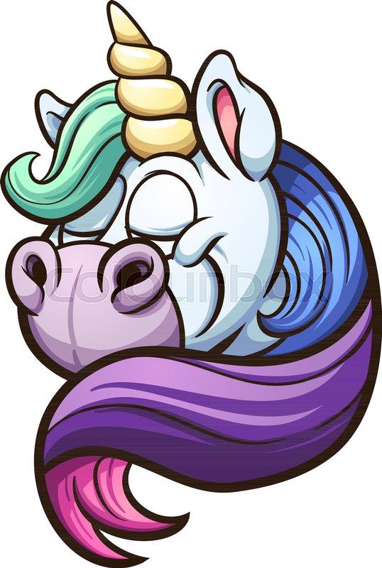 538x800 Cartoon Unicorn With Rainbow Mane. Vector Clip Art Illustration