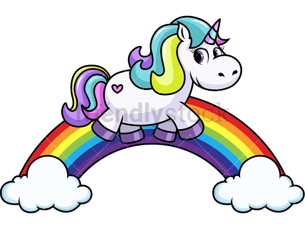 1067x800 Unicorn Walking On Rainbow Cartoon Vector Clipart