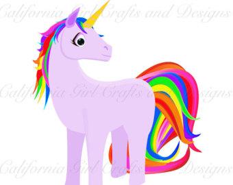 340x270 Unicorn Clipart Fantasy Digital Clip Art Rainbow Art Digital