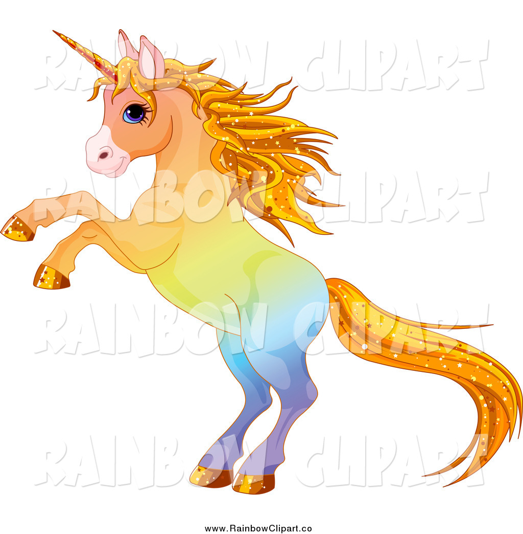 1024x1044 Vector Clip Art Of A Rearing Rainbow Unicorn With Sparkly Hair By