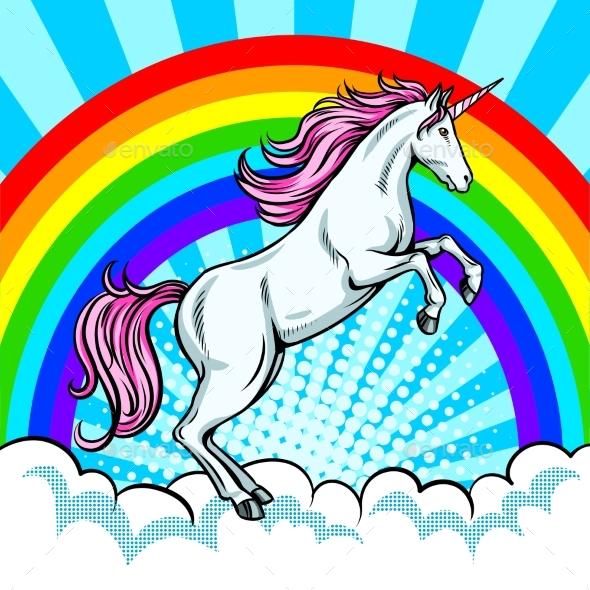 590x590 Fairy Animal Unicorn And Rainbow Pop Art Vector By Alexanderpokusay