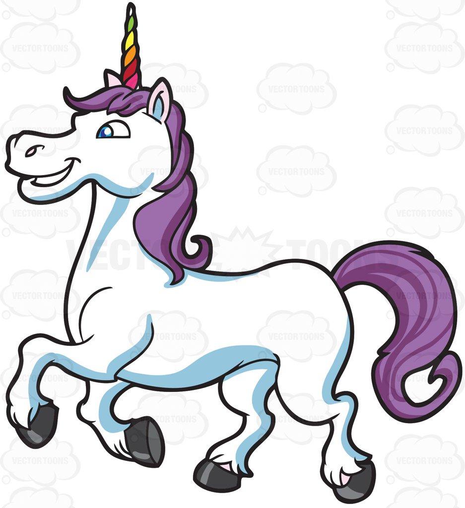 937x1024 A Happy Unicorn Cartoon Clipart Vector Toons