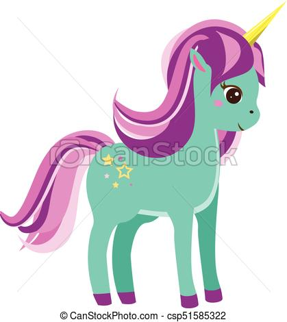 419x470 Cute Blue Unicorn With Pink Mane Vector Illustration. Cute