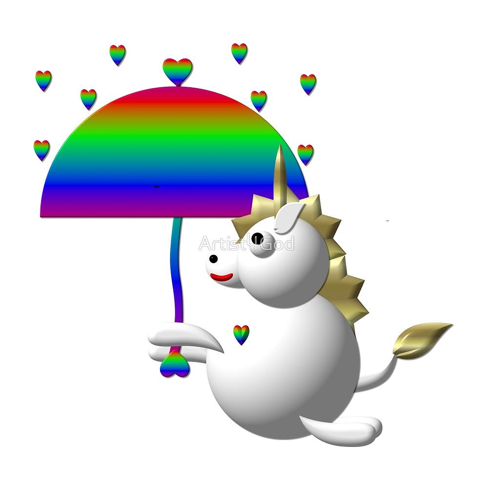 1000x989 Cute Unicorn With An Umbrella By Artist4god Redbubble