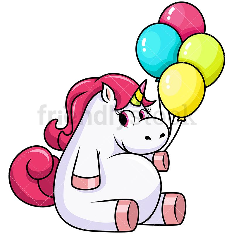 800x800 Cute Unicorn Holding Balloons Vector Cartoon Clipart