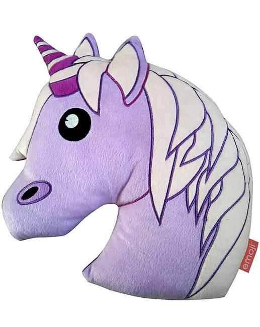 517x650 Emoji Unicorn Shaped Cushion J D Williams