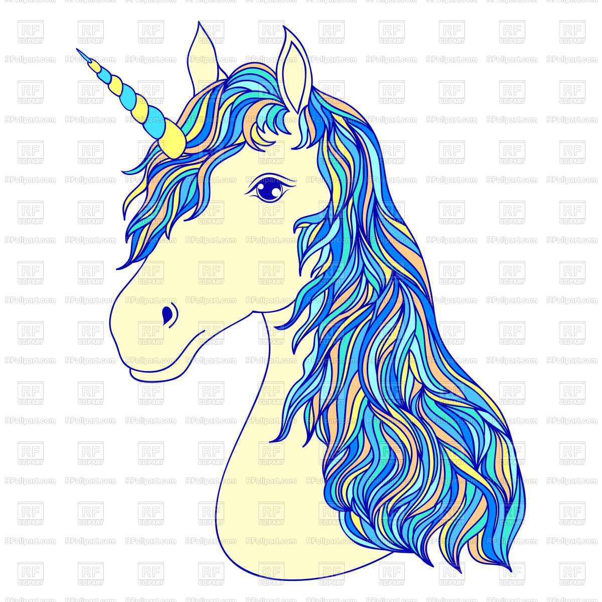 1200x1200 Head Of Hand Drawn Unicorn Royalty Free Vector Clip Art Image