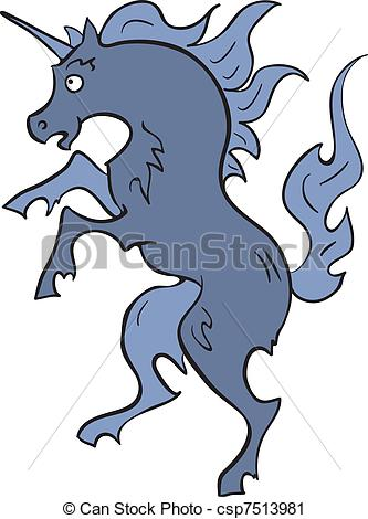 333x470 Heraldic Blue Unicorn. A Vector Illustration Of Standing