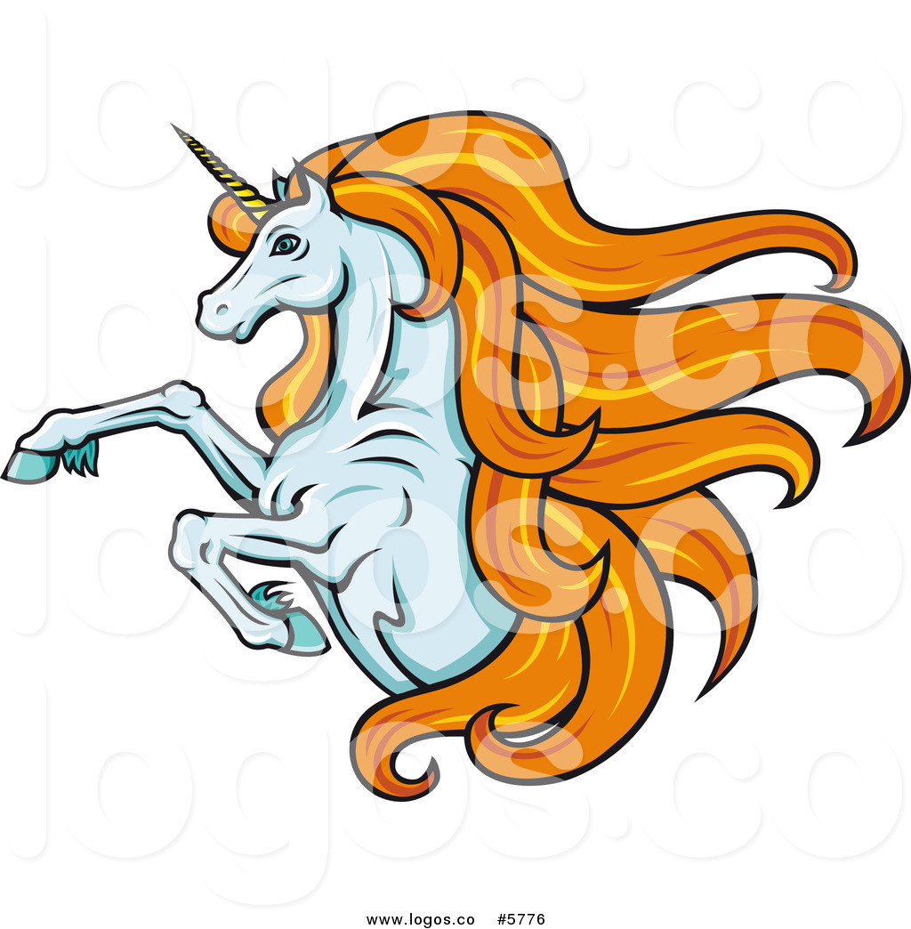 1024x1044 Royalty Free Vector Of A Logo Of A Leaping Unicorn With Orange