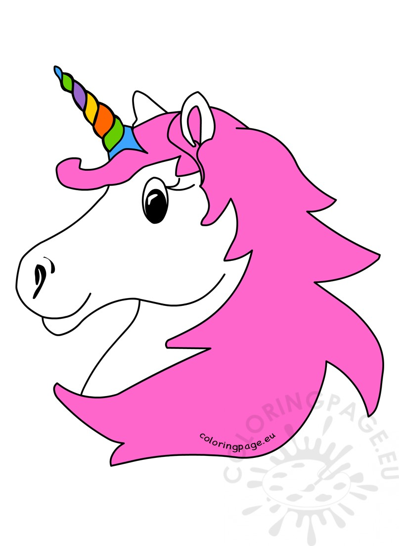 807x1103 Unicorn Head With Rainbow Horn And Pink Hair Coloring Page
