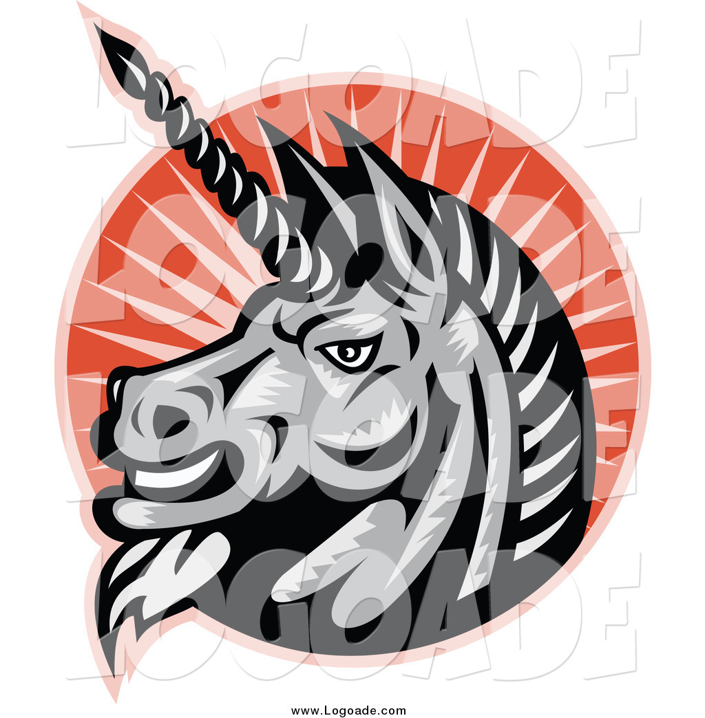1024x1044 Clipart Of A Gray Unicorn Head Over Orange Rays Fantasy Logo By