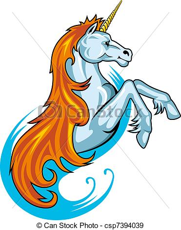 371x470 Fantasy Unicorn Horse In Cartoon Style For Tattoo Design.