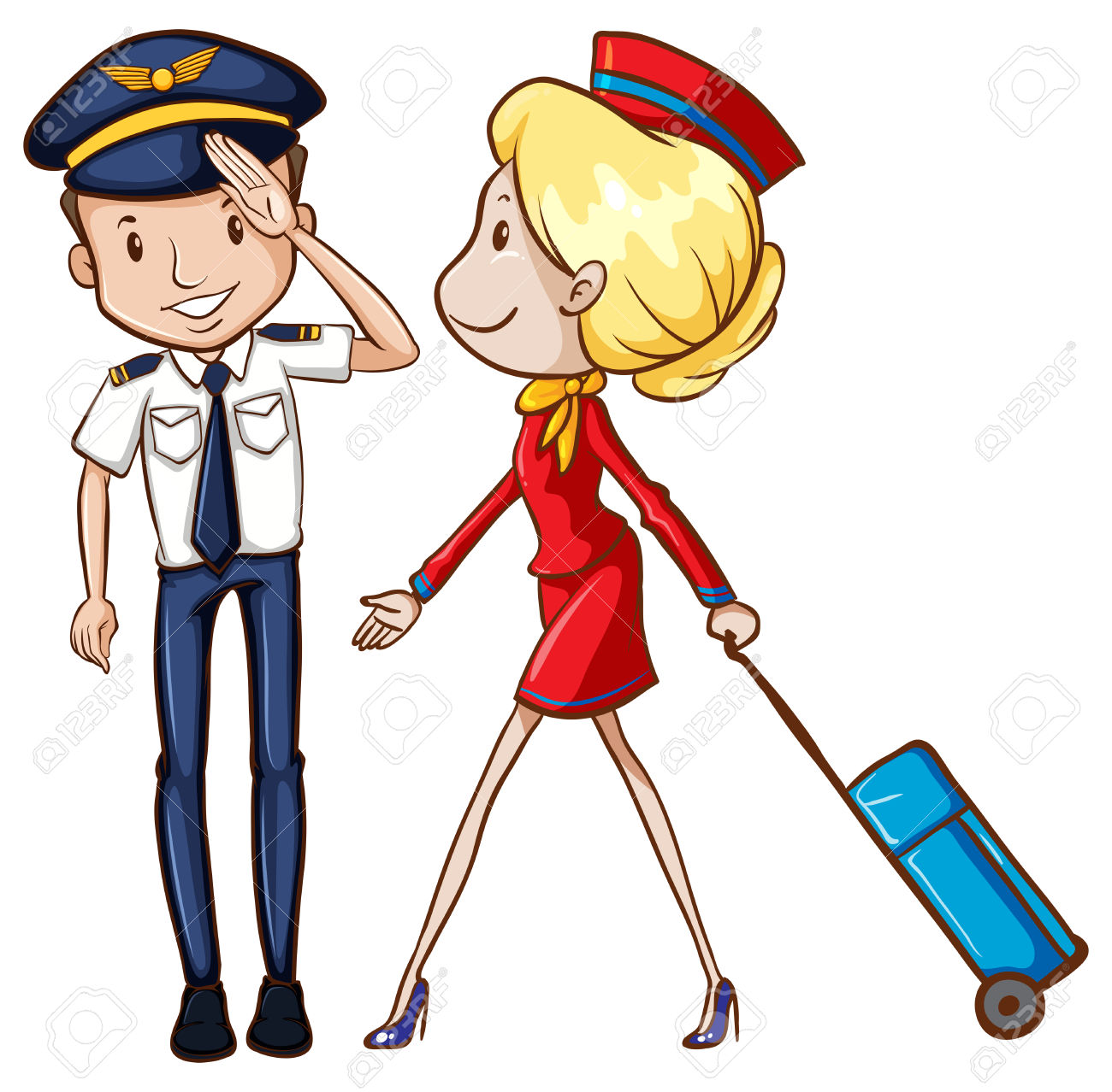 1300x1278 Pilots And Flight Attendants In Uniform Royalty Free Cliparts