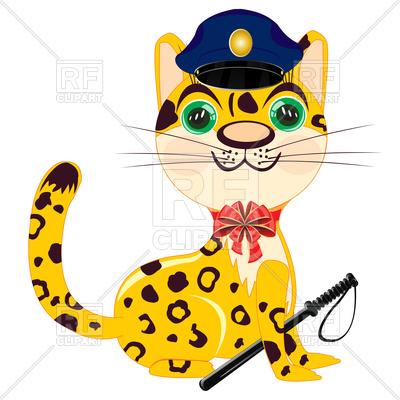 400x400 Animal Leopard In Police Uniform Royalty Free Vector Clip Art