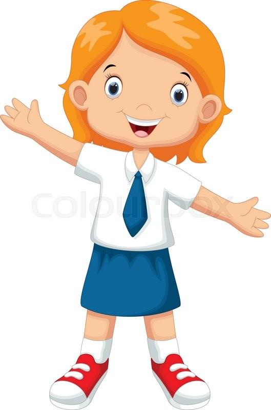 529x800 Vector Illustration Of Cute Girl In A School Uniform Stock
