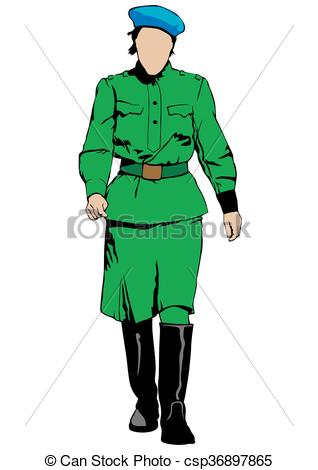 318x470 Young Woman In Military Uniform On A White Background Clip Art