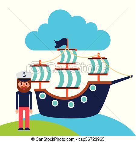 450x470 Cartoon Captain Sailor In Uniform With The Ship Vector Clip Art