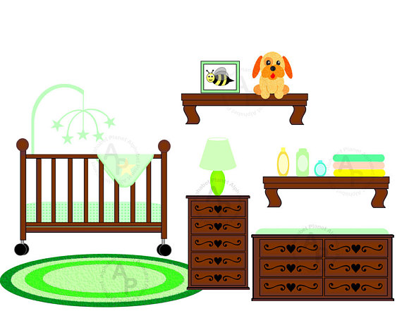 570x441 Baby Unisex Neutral Nursery Crib Changing Table Digital Clip Art