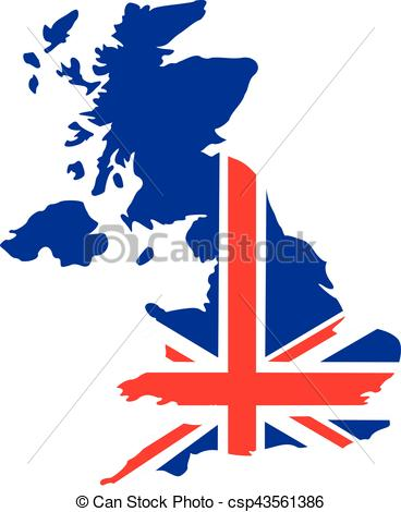 368x470 United Kingdom Map With Flag Vector