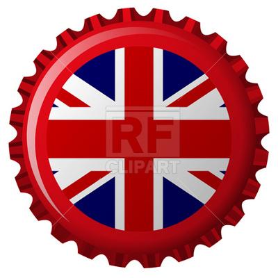 400x400 United Kingdom Stylized Flag On Bottle Cap Royalty Free Vector
