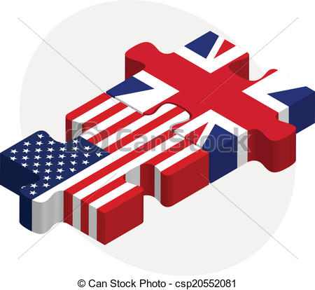 450x414 Vector Illustration Of Usa And United Kingdom Flags In Vector