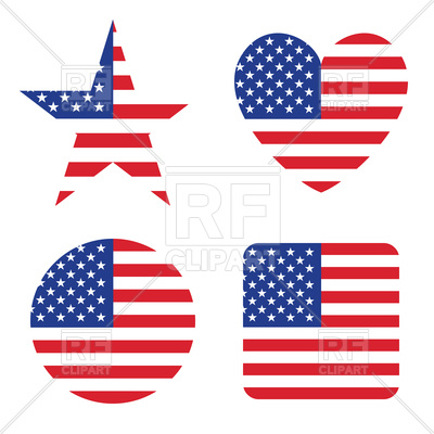 400x400 Set Of Circle, Star, Heart, Square Elements With Usa Flag Royalty