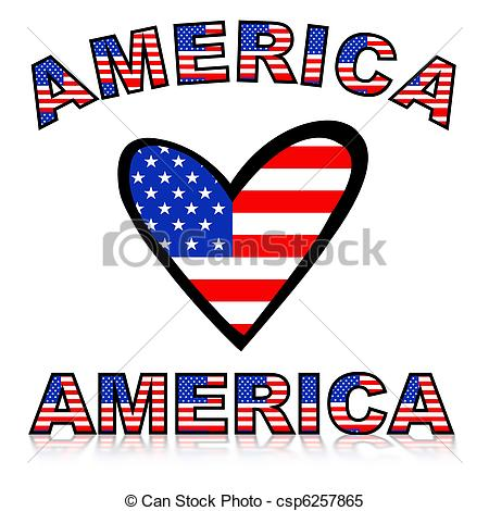 450x470 Illustration Of A Heart With United States Of America Flag