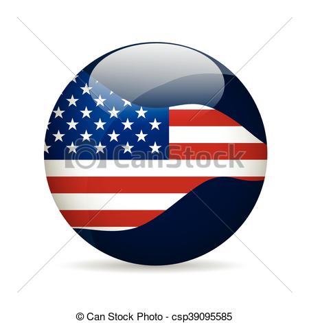 450x470 United State Of America Flag. Vector Illustration. United