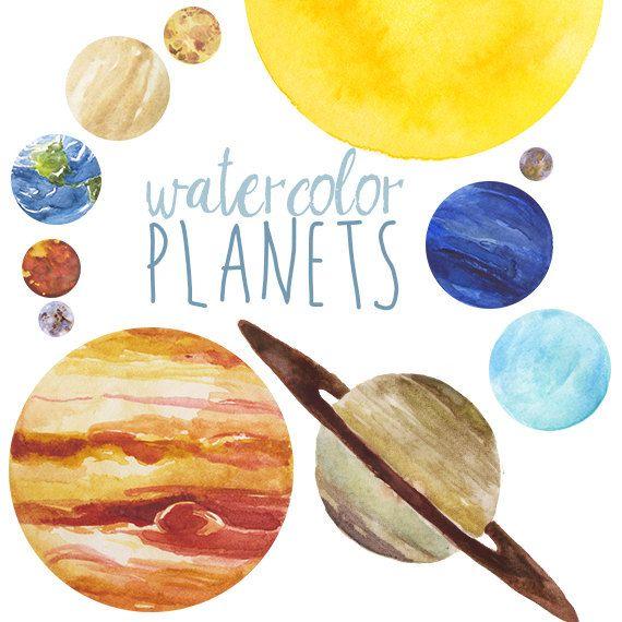 570x570 Watercolor Planets Clip Art Set, Solar System, Science Clip Art