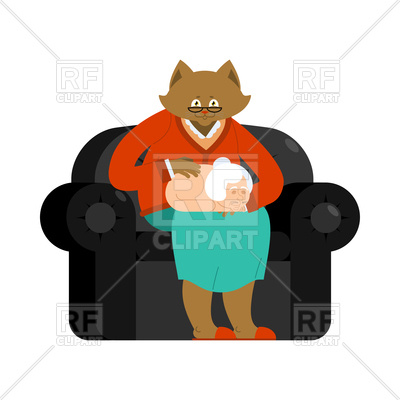 400x400 Cat As Grandmother In Parallel Universe Royalty Free Vector Clip