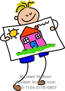 214x300 Clipart Image Of A Happy Little Boy Holding Up His Painting Of A House