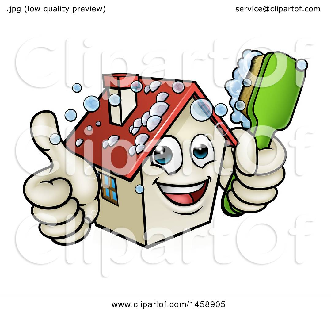 1080x1024 Clipart Of A Cartoon Happy House Character Giving A Thumb Up