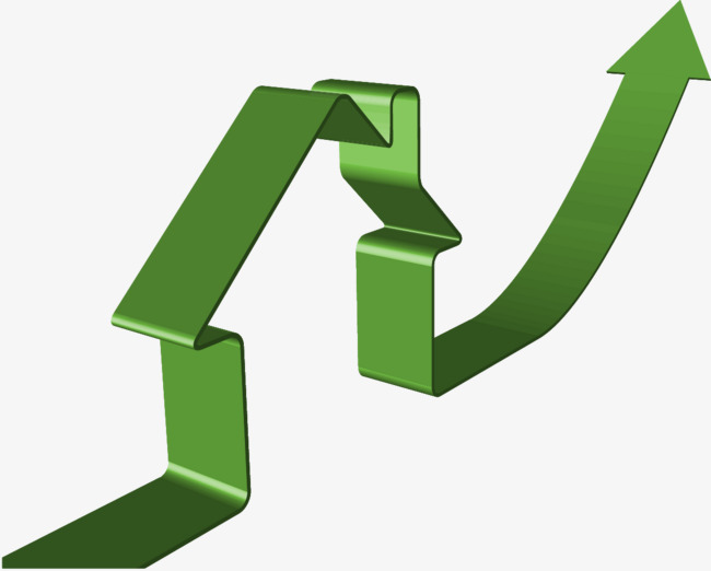 650x522 Green Creative House Up Arrow, Arrow, Rise, Green Png Image