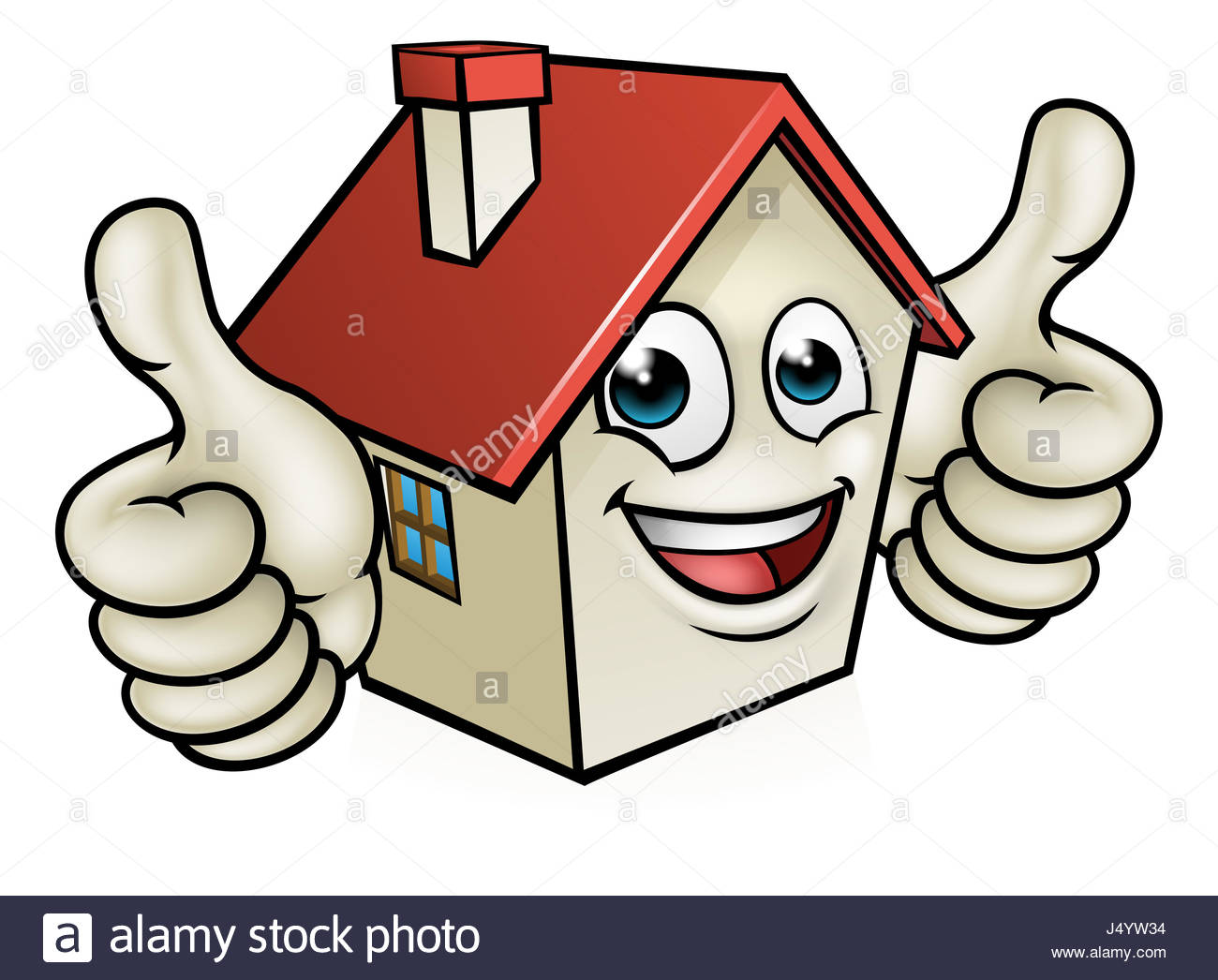1300x1046 A House Cartoon Mascot Character Giving A Double Thumbs Up Stock