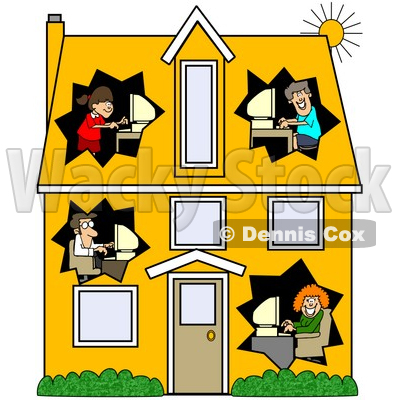 400x400 Clipart Illustration Of A Blue Foreclosed Home With Boarded Up