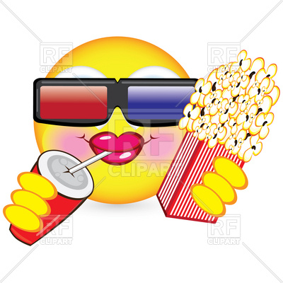 400x400 Cheerful Smiley Watching Movie In 3d Glasses Royalty Free Vector