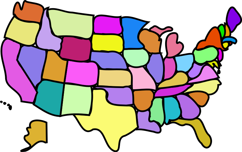 800x504 U.s. Map, Cartoony Free Vector 4vector