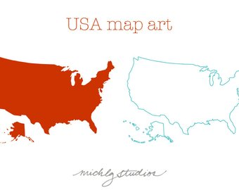 340x270 Usa Amp 50 States Map Clipart Maps Digital Clip Art Bundle