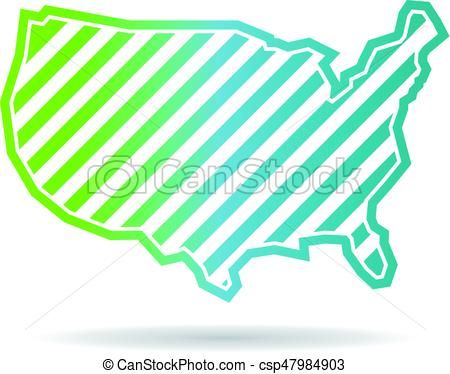450x374 Vector Clipart Of United States Map Oblique Stripes Logo Design